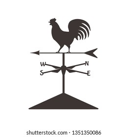 Weather cock silhouette.Isolated wether cock, design symbol