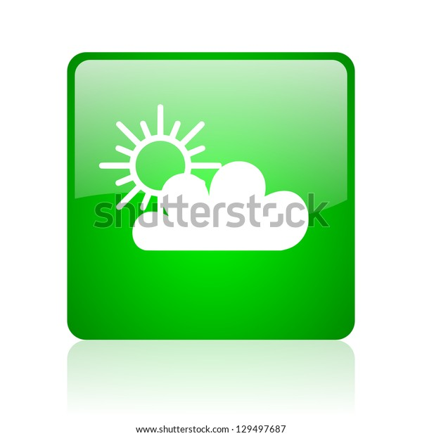 weather forecast green square web icon on white background