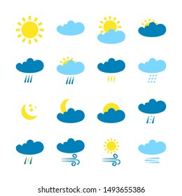 Weather forecast  icons set isolated on white background. Weather symbols  in modern style. Symbols for web site design and mobile apps.