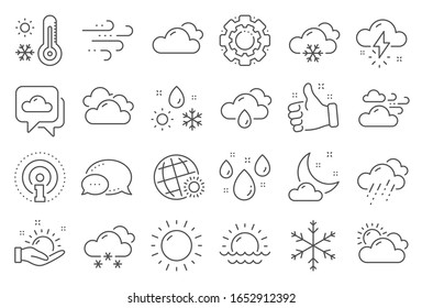 Weather and forecast line icons. Cloudy sky, winter snowflake, thermometer. Moon night, rain and sunset icons. Weather temperature, meteorology forecast and wind, thunder bolt. Line signs set.