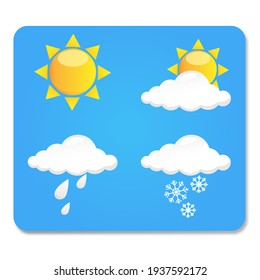 Weather icons on a blue background