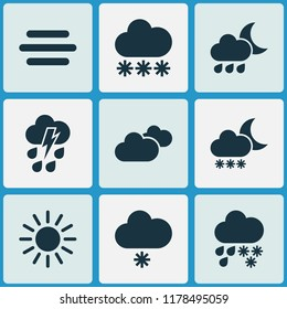 Weather icons set with light snow shower, thundershower, fog and other drizzle elements. Isolated  illustration weather icons.