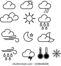 weather logo line icons set