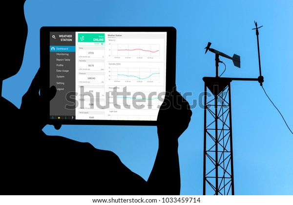 Weather station data logging wireless monitoring , tracking and forecasting temperature , humidity ,light ,wind , rain level with application on tablet screen. Smart farm ,agriculture and iot concept.
