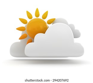 Weather symbol - sun and cloud