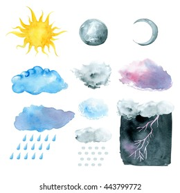 Weather symbols, watercolor hand painted