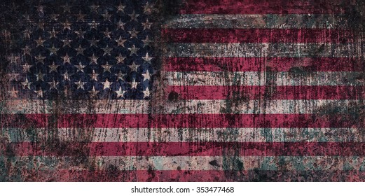 Weathered and Distressed US Flag on Metal