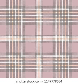 Weathered plaid pattern in dusty amaranth, grayish purple, peach orange and white. All over digital fabric texture.