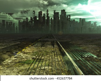 Weathered road leads into abandoned city 3D Render