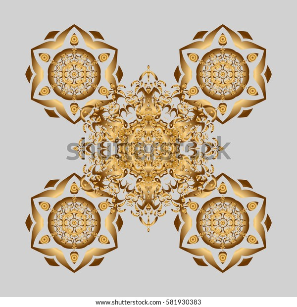 Weave design element. Yoga logo, background for meditation poster. Unusual flower shape oriental line. Outline Mandala on gray background. Anti-stress therapy pattern. Decorative round ornament.