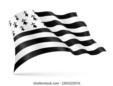 Weaving flag of Brittany, department of France. Realistic breton illustration isolated on white background.