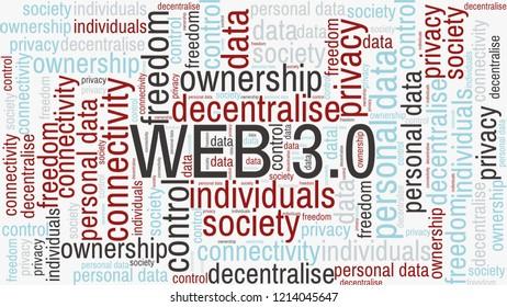 Web 3.0 modern internet concept. Word cloud tags concept illustration of Web 3.0