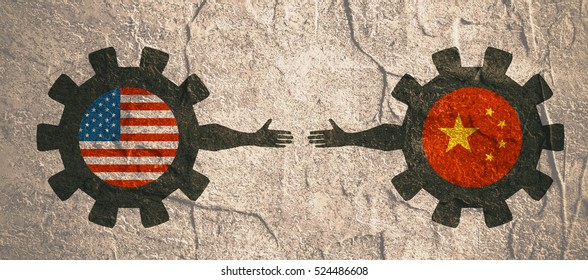 Web Banner, Header Layout Template. Politic and economic relationship between USA and China. National flags on cog wheels. Concrete textured