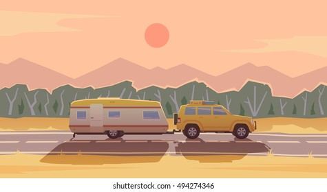 Web banner on the theme of Road trip, Adventure, Trailering, Camping, outdoor recreation, adventures in nature, vacation. Modern flat design. SUV and trailer.
