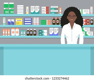 Web banner of a pharmacist. Cute black woman in the workplace in a pharmacy: standing in front of shelves with medicines. Raster copy