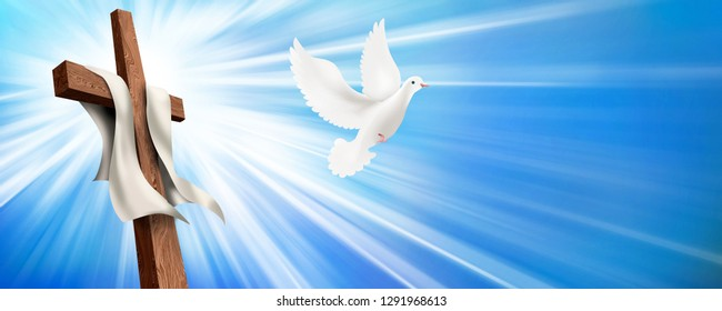 Web banner. Resurrection. Christian cross illustration with dove. Concept life after death. 3d illustration