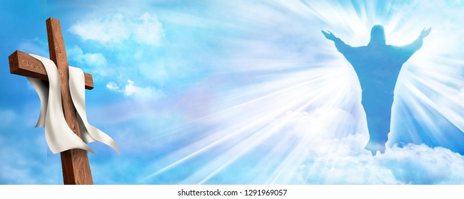 Web banner Resurrection. Christian cross with risen Jesus Christ and clouds sky background. Life after death. 3d illustration