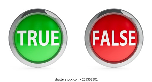 Web buttons true & false isolated on white background, three-dimensional rendering
