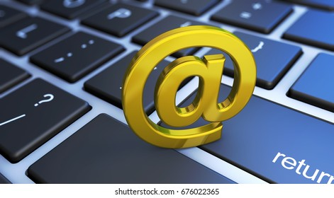 Web contact us concept with a golden at email symbol on a computer keyboard 3D illustration.