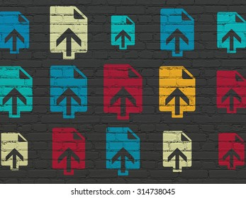 Web design concept: Painted multicolor Upload icons on Black Brick wall background