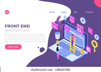 Web design and Front end development isometric concept.  illustration.