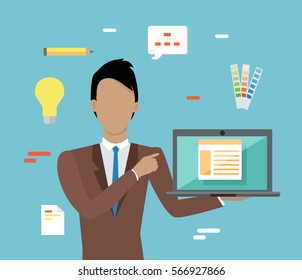 Web design, SEO infographic concept. Man in brown business suit and tie with laptop on blue background with communication and design pictograms. Website development project, SEO process information