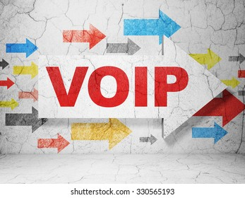 Web development concept:  arrow with VOIP on grunge textured concrete wall background