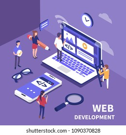 Web development concept.  Business team working together. Flat  isometric illustration.