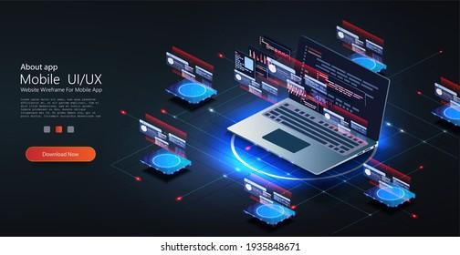 Web development concept in flat design. Developing of internet app or online website service. Software development coding process concept.