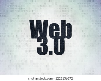 Web development concept: Painted black word Web 3.0 on Digital Data Paper background
