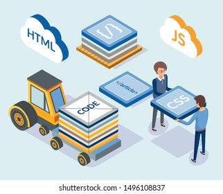 Web development, programming coding scripts raster. Professional designers with css, html and js javascript. Transport with blocks, project managers