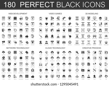 web development, video games, 3d modeling, network technology, cloud data technology, creative process black classic icon set.