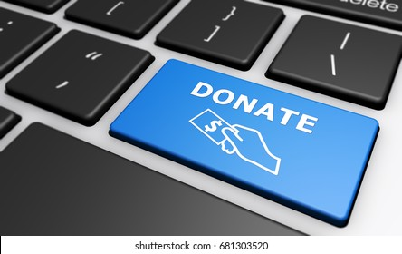 Web donations concept with a blue computer key with donate sign and icon 3D illustration.