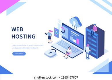 Web hosting concept with character. Can use for web banner, infographics, hero images. Flat isometric illustration isolated on white background.