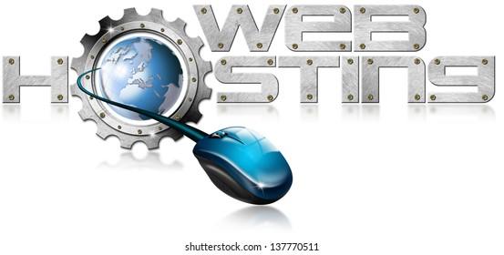 Web Hosting Metal Gear / Illustration with metal written Web Hosting, metal gear, mouse and blue globe