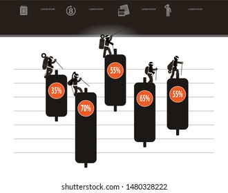 web icons of people with infographics. Climbers and Business Candle stick graph chart of stock market investment trading