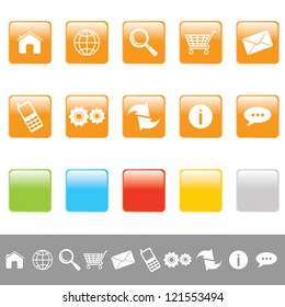 web icons rectangular set