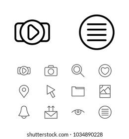 Web icons set with send mail, photo and list elements. Set of web icons and dossier concept. Editable  elements for logo app UI design.