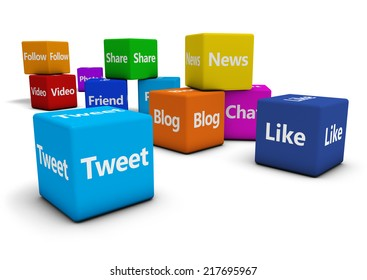 Web and Internet concept with social media and social network signs and words on colorful cubes isolated on white background.