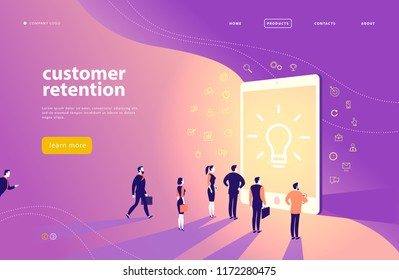 Web page concept design with customer retention theme - office people stand at big digital tablet screen. Landing page, mobile app, site template. Line art, business icons. Inbound marketing.