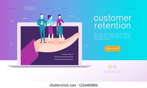 Web page concept design - customer retention theme. Buying happy people with sale bag stand on big human hand. Landing page, mobile app, site template. Business illustration. Inbound marketing.