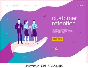 Web page concept design - customer retention theme. Office people with mobile device stand on big human hand. Landing page, mobile app, site template. Business illustration. Inbound marketing.