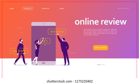Web page concept design with online review theme. Office people at smartphone screen giving stars, feedback and rating. Thumb up, stars line icons. Landing page, mobile app, UI, UX, site.