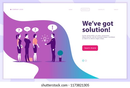 Web page design template - complex business solution, project support, online consult, modern technology, service, time management, planning. Landing page. Mobile app. Flat concept illustration