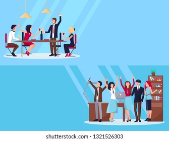 Web page of people in process of partying in office with computer, shelves and table, and drinking with meal raster illustration isolated on blue