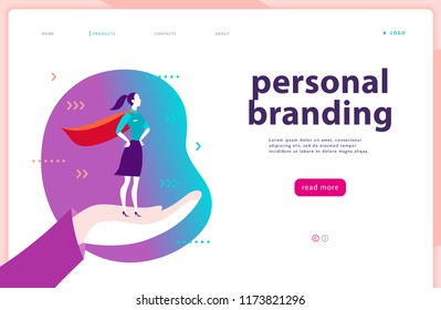 Web page template - personal branding, business communication, consulting, planning. Landing page design. Business lady standing as super hero on human hand. Web banner, mobile app illustration