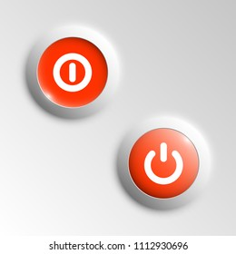 web round button on and off mark patch of reflected light for website or app. Isolated bell button sign with border, reflection and shadow on background. button inclusion mark