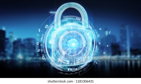 Web security protection interface on blue city background 3D rendering