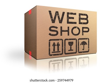 web shop online shopping icon for internet webshop or store
