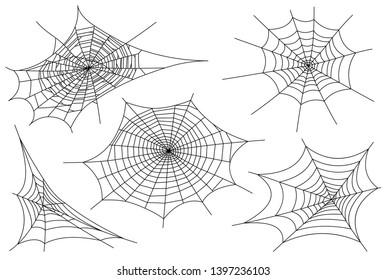 Web spider cobweb icons set. Outline illustration of web spider cobweb  icons for web